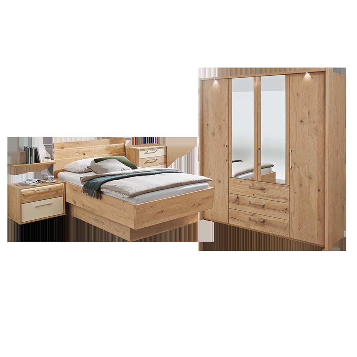 Disselkamp Cadiz Schlafzimmer Bett Nachtkonsole Drehtürenkleiderschrank  Balkeneiche Echtholz furniert mit Schubkastenkommode