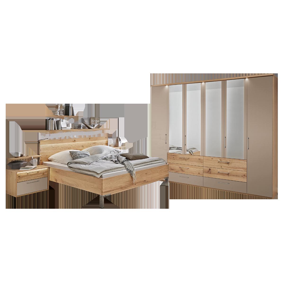 Schlafzimmer Doppelbett disselkamp cadiz schlafzimmer bett nachtkonsolen wandboards schrank