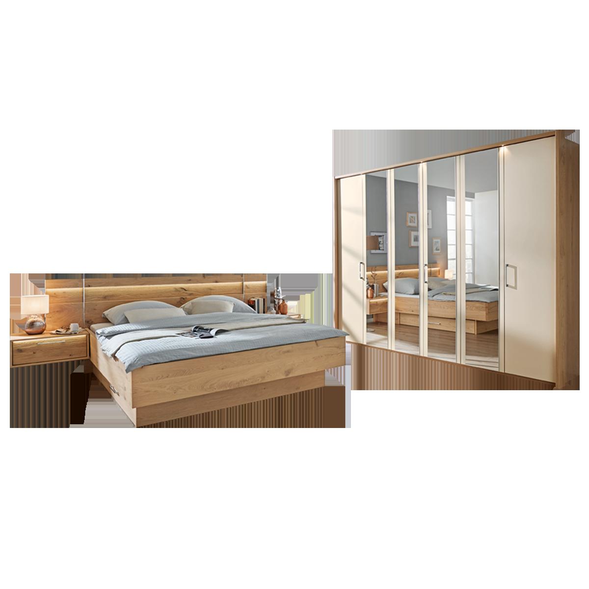 Disselkamp Cadiz Schlafzimmer Doppelbett mit Drehtürenkleiderschrank