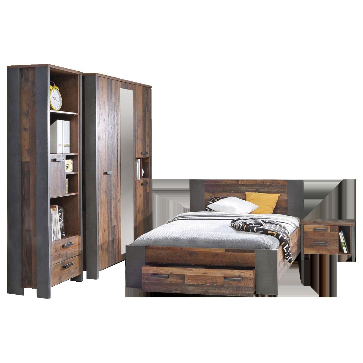 Forte clif jugendzimmer bett kleiderschrank regal nachtkommode for Bett jugendzimmer