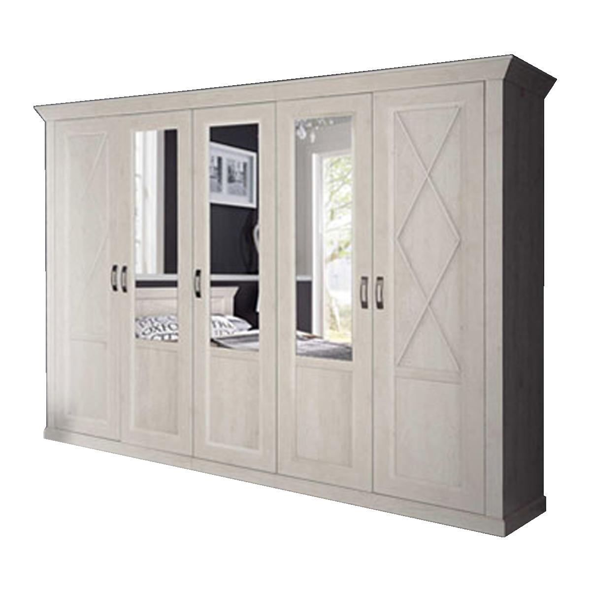 Kostenlose Lieferung Ins Deutsche Festland Forte Kashmir Schlafzimmer  Drehtürenkleiderschrank Landhausstil 2 Türen Und 3 Spiegeltüren