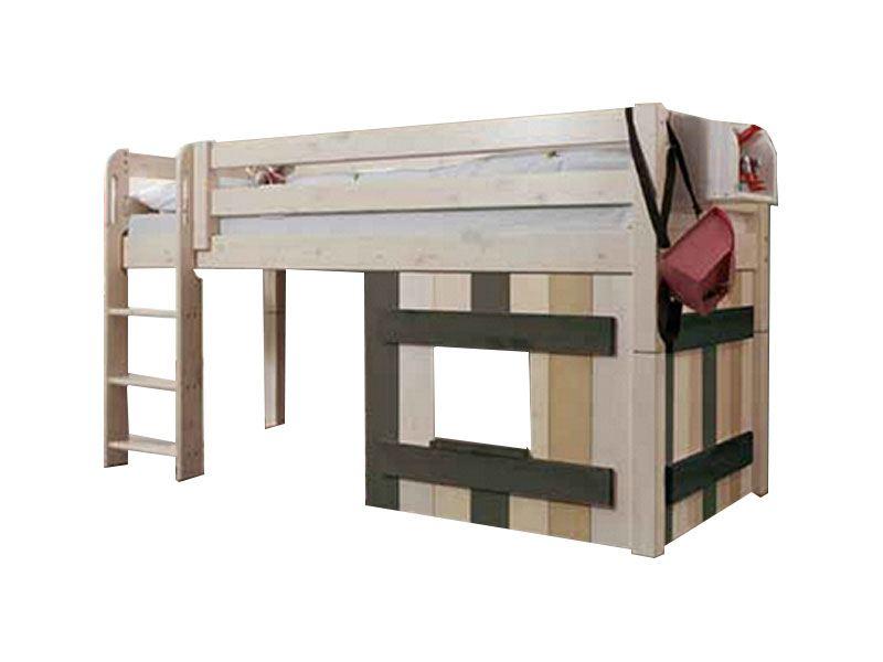 Infantil Infanskids Halbhochbett mit Holz-Dekoelement in Kiefer massiv