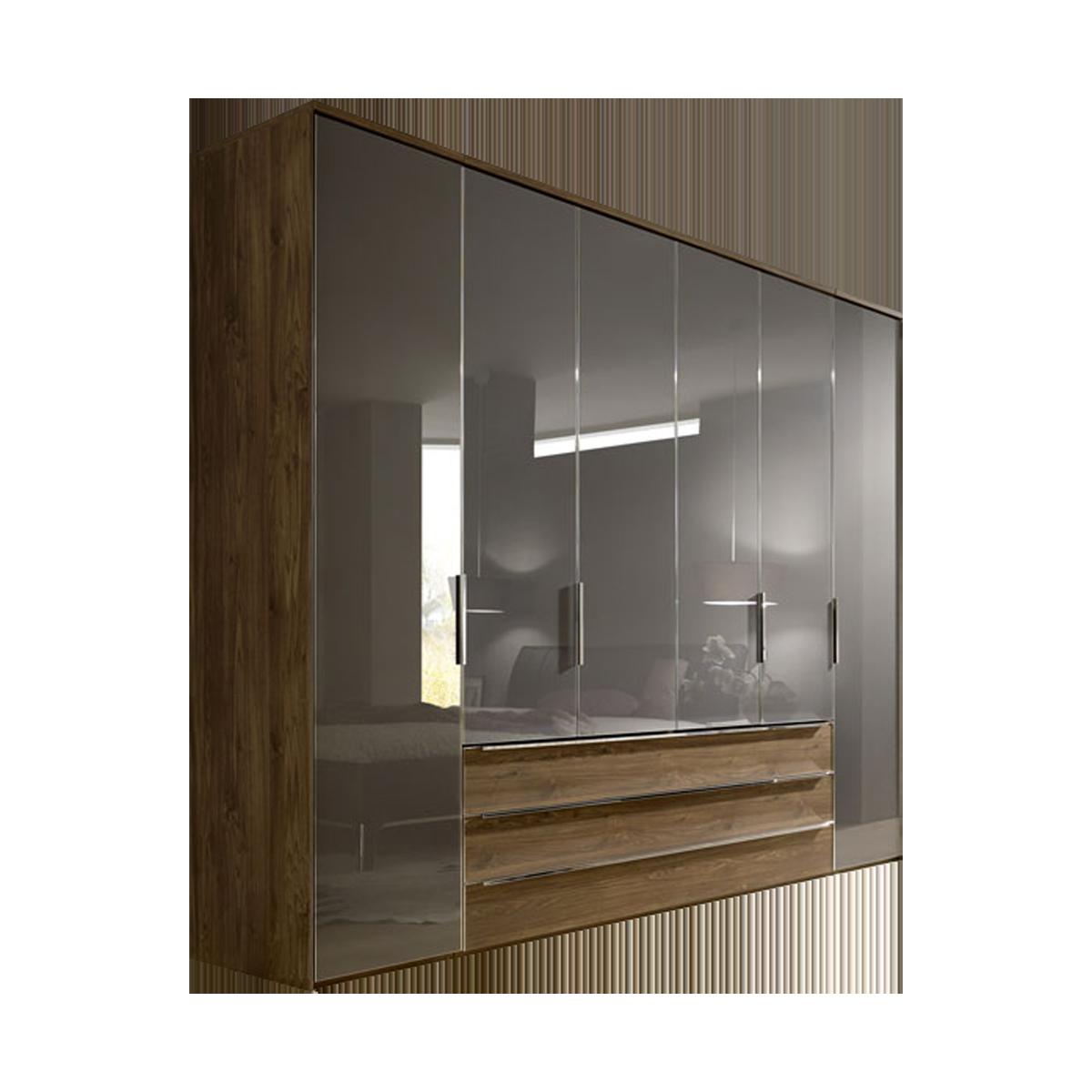 Nolte Möbel Horizont 10500 Drehtürenschrank mit 3 Schubkästen Türfront  Graphitglas Korpus und Schubkastenfront Macadamia-Nussbaum-Nachbildung mit  ...