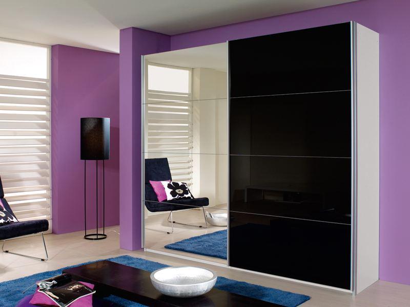 schlafzimmer quadra, schwebetürenschrank 4x glas und 4x spiegel quadra von rauch, Innenarchitektur