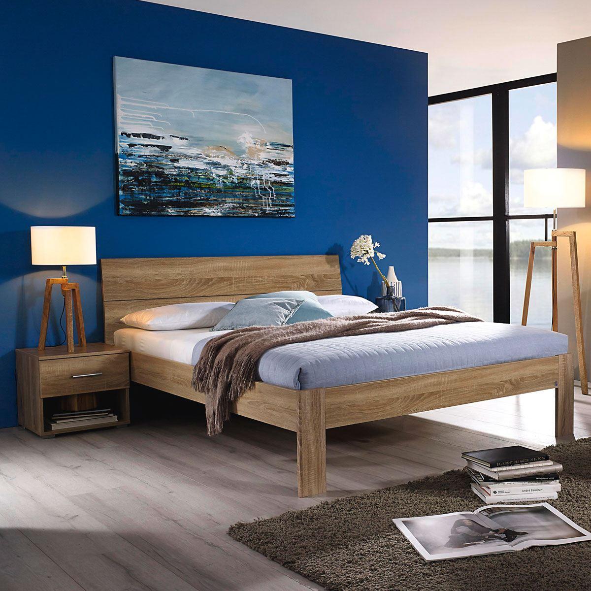 Rauch Packs Flexx Bett in Dekor- Druck Eiche Sonoma Liegefläche wählbar  optional mit passenden nachttisch und Kommode