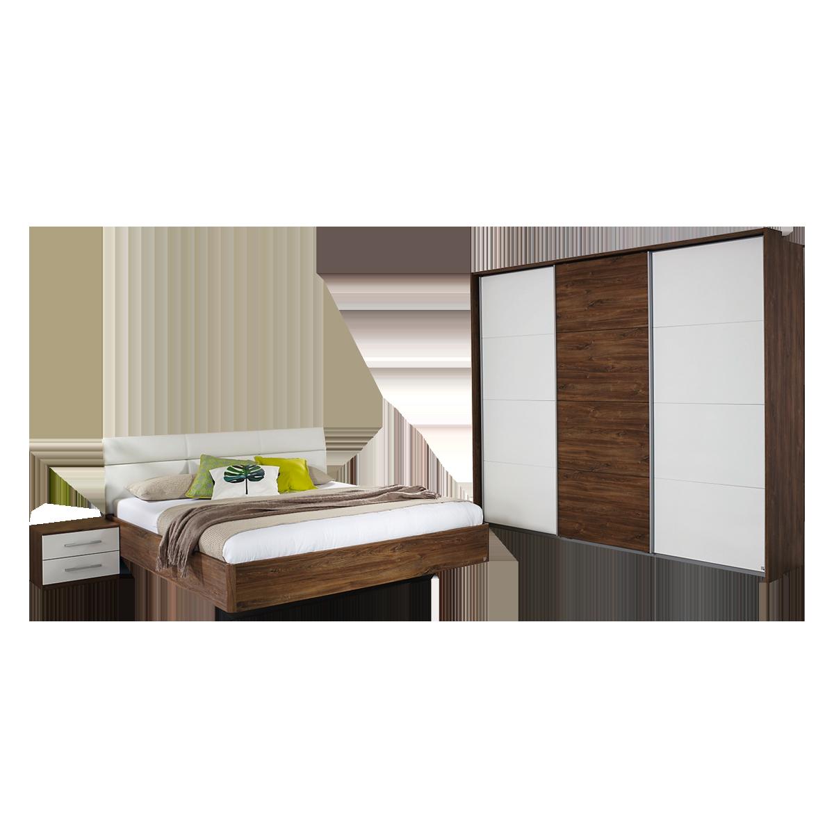 Rauch Packs Kelheim Schlafzimmer 4-teilig bestehend aus Bett  Nachttisch-Paar und Schwebetürenschrank mit Passepartout-Rahmen  Farbausführung ...