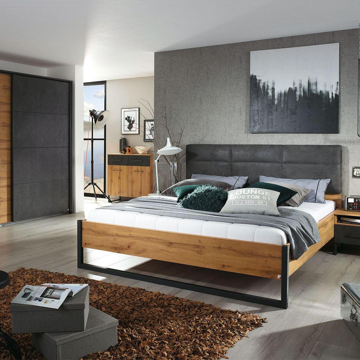 Rauch Packs Tampa Schlafzimmer 4-teilig bestehend aus Bett Nachttischen und  Schwebetürenschrank mit Passepartout-Rahmen Farbausführung Dekor-Druck ...