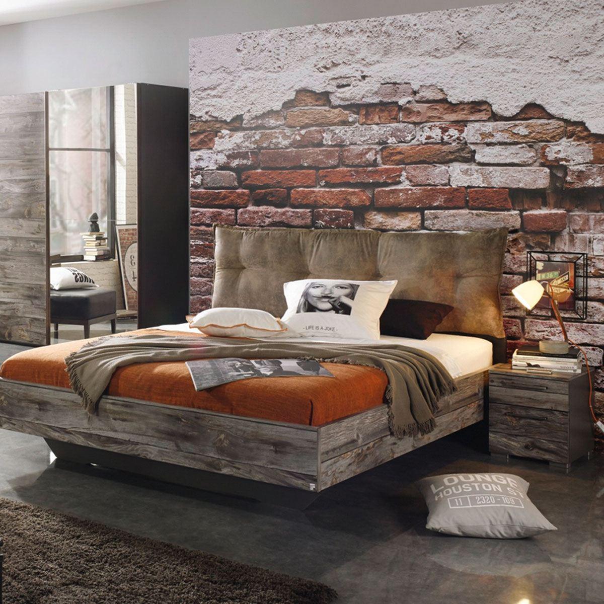 Rauch Select Timberstyle Bett mit Polster-Kissen Farbasführung Sunwood /  graphit mit Absetzung Antik Liegefläche wählbar optional mit Nachttisch ...