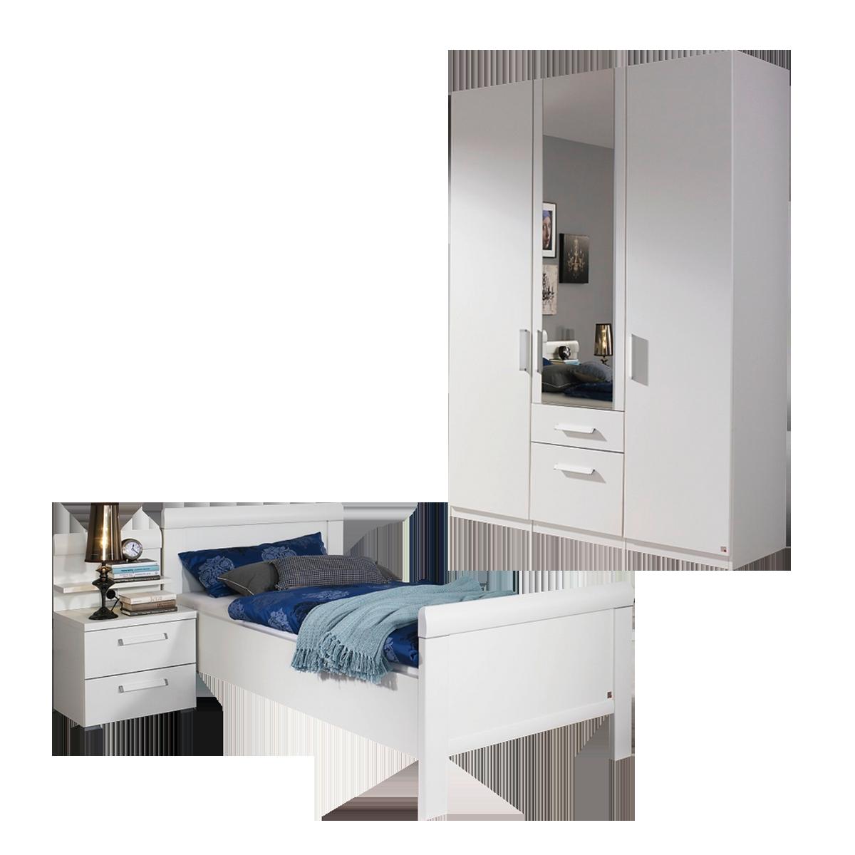 Rauch Steffen Evelyn Schlafzimmer 3- teilig bestehend aus Komfortbett  Nachttisch mit 2 Schubkästen und Drehtürenschrank 3- türig mit 2  Schubkästen ...