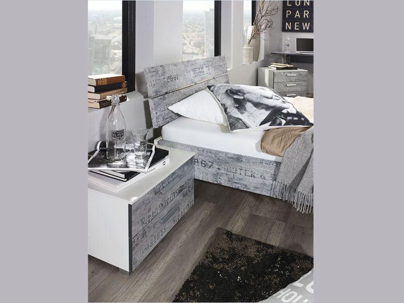 schlafzimmer rauch sumatra, rauch sumatra-extra bett in alpinweiß mit vintage-optik grau, Design ideen