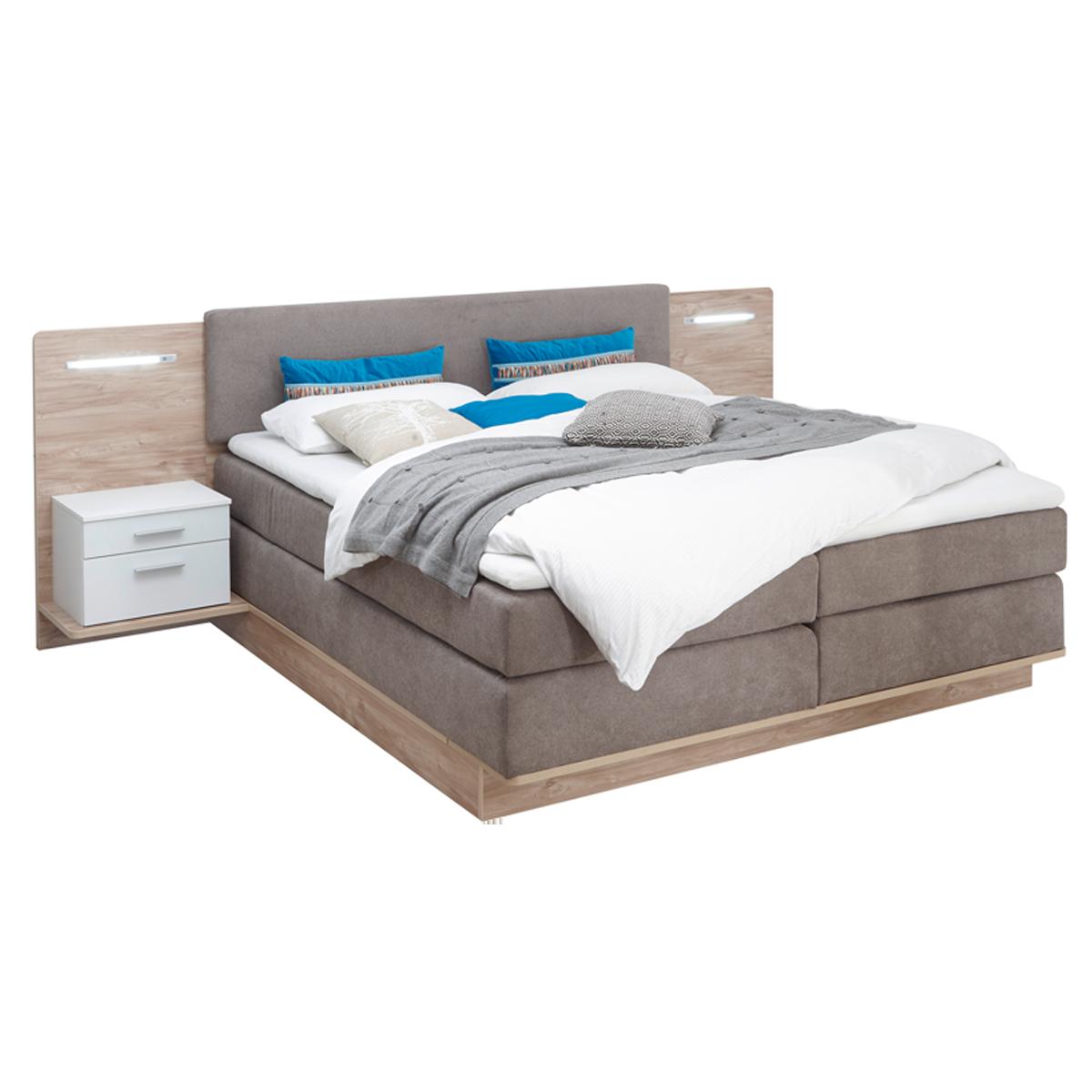 Schlafkontor Malibu Boxspringbett Mit Zwei Paneel Nachtkommoden Inkl Led Beleuchtung Liegefläche Ca 180x200 Cm