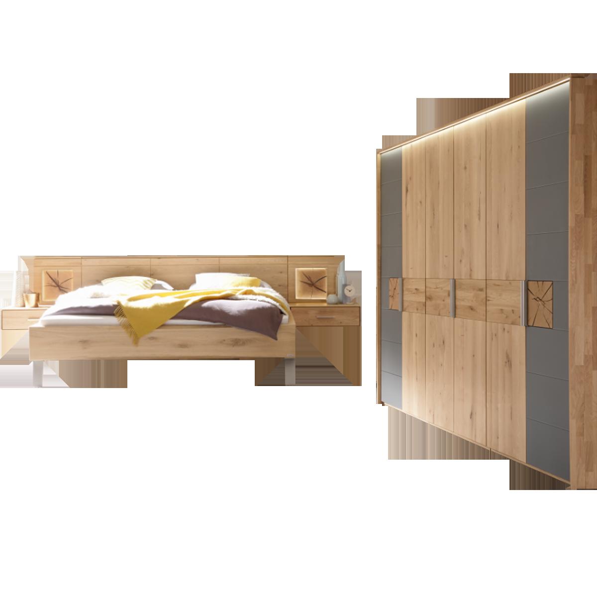 Thielemeyer Mira Schlafzimmer Ausführung Wildeiche mit Colorglas  schiefergrau und Hirnholz bestehend aus 6-türigem Drehtürenschrank  Komfortbett ...