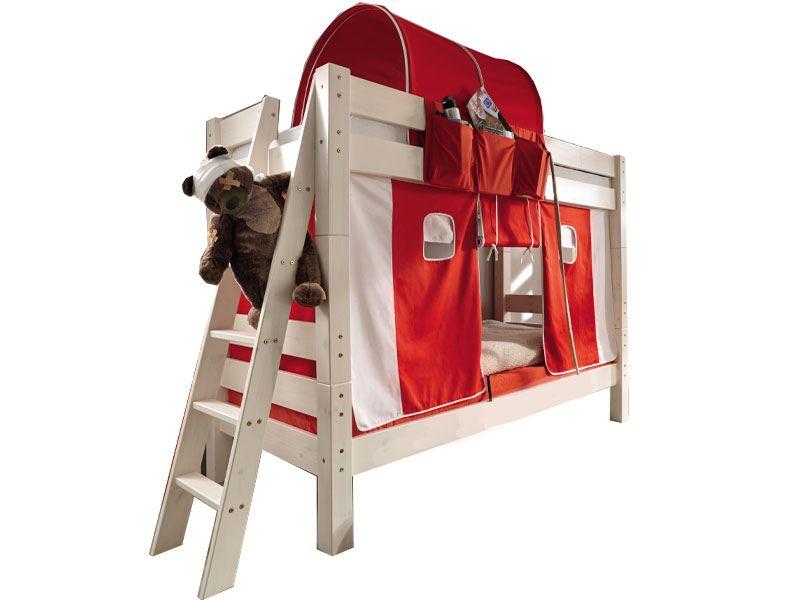 Etagenbett Massiv Weiss Kiefer 90x200 : Kinderbett halbhohes bett teilbar textiltunnel vorhang kiefer
