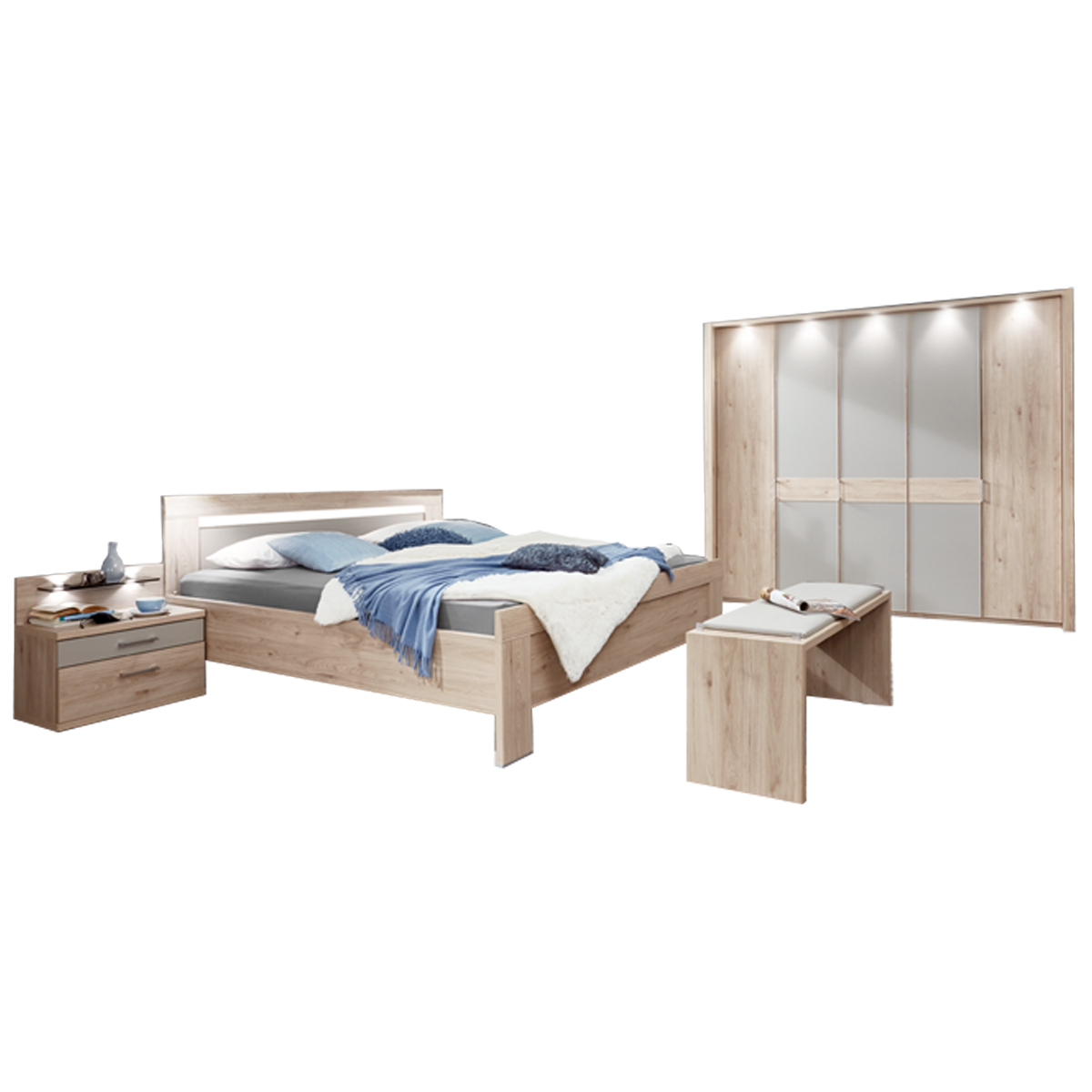 Wiemann Donna 19 Schlafzimmer mit Bett 19-türigem Drehtürenschrank  Nachtkonsolen und Ankleidebank in Steineiche-Nachbildung mit Absetzungen in