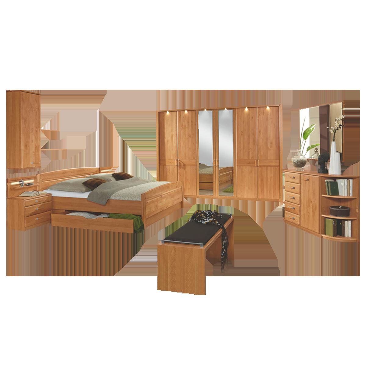 Wiemann Lausanne Schlafzimmer Doppelbett Drehtürenschrank Nachtschränke  Beimöbel Ankleidebank Spiegel in Erle oder Birke teilmassiv wählbar