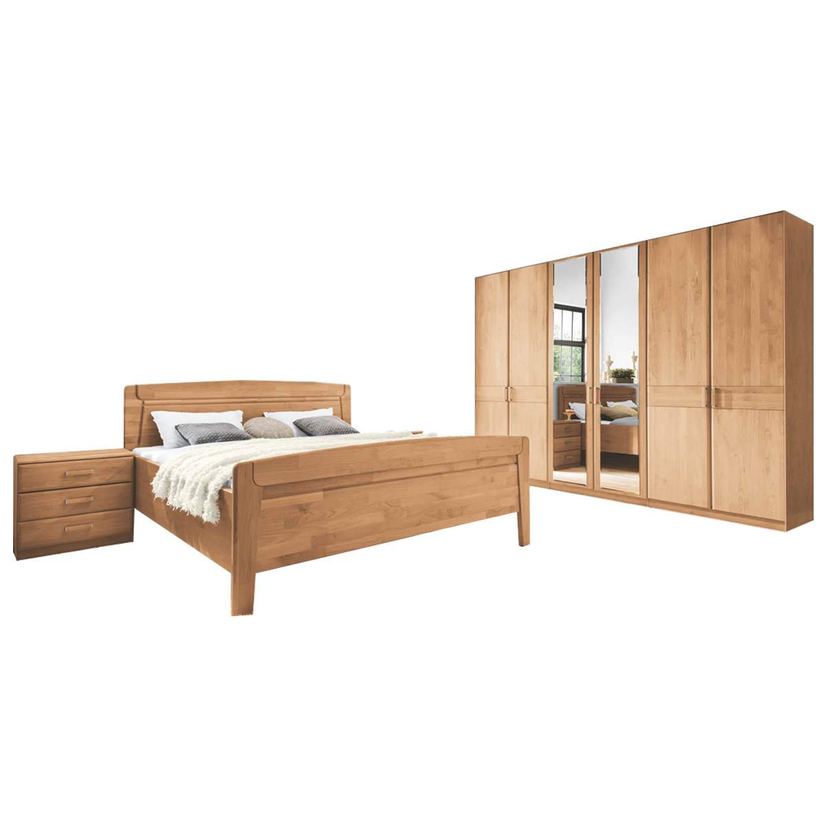 Wiemann Lausanne Schlafzimmer Bett Drehtürenschrank 18 Nachtschränke