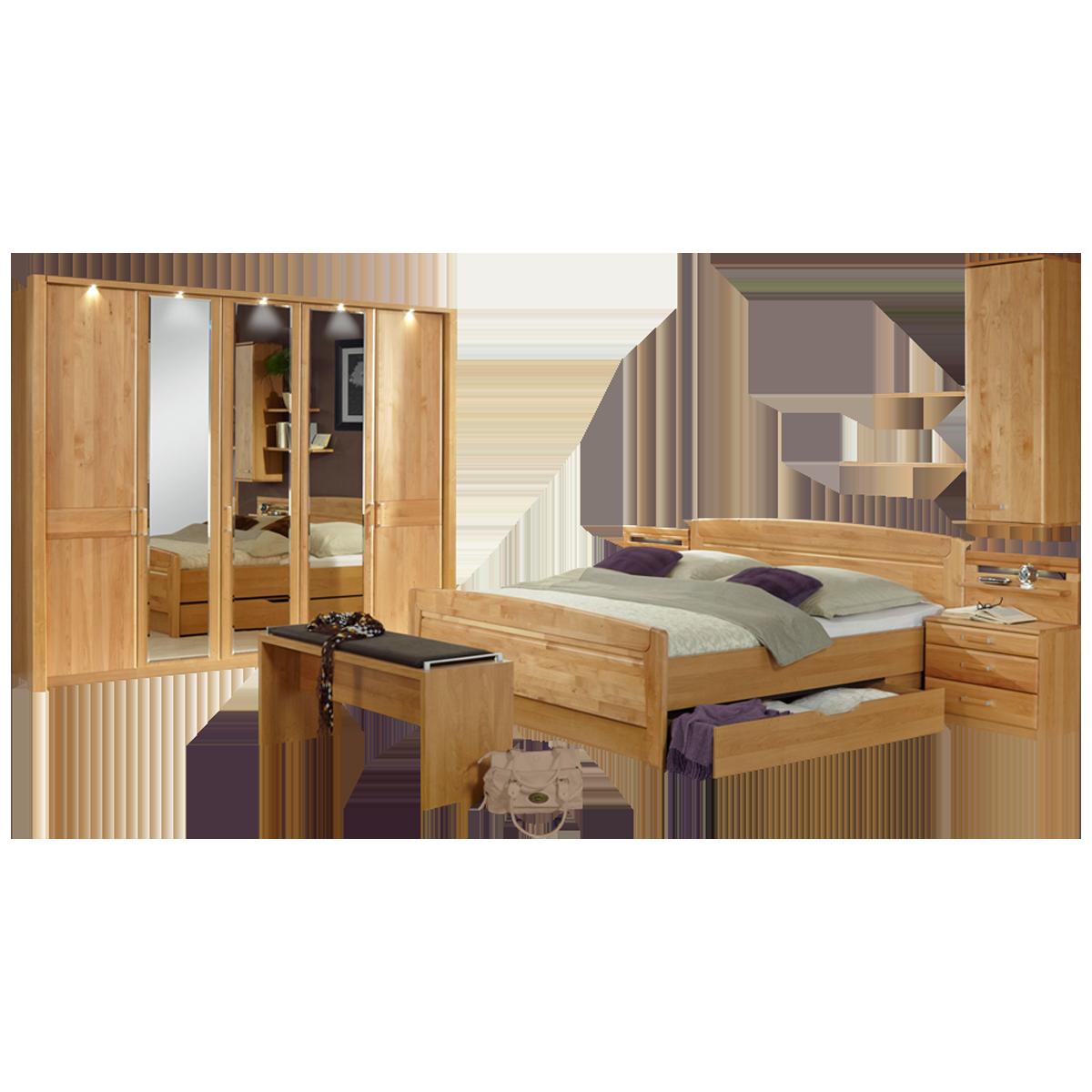 Wiemann Lausanne Schlafzimmer Doppelbett mit Bettkasten Drehtürenschrank  Nachtschränke Ankleidebank Hängeschrank und Wandboards in Erle teilmassiv