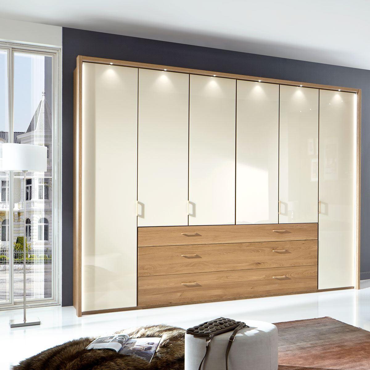 Wiemann Lido Dreh-Gleittüren-Panorama-Funktionsschrank 10-türig Front mit  Glasauflage und 10 Auszügen mit Massivholzfront