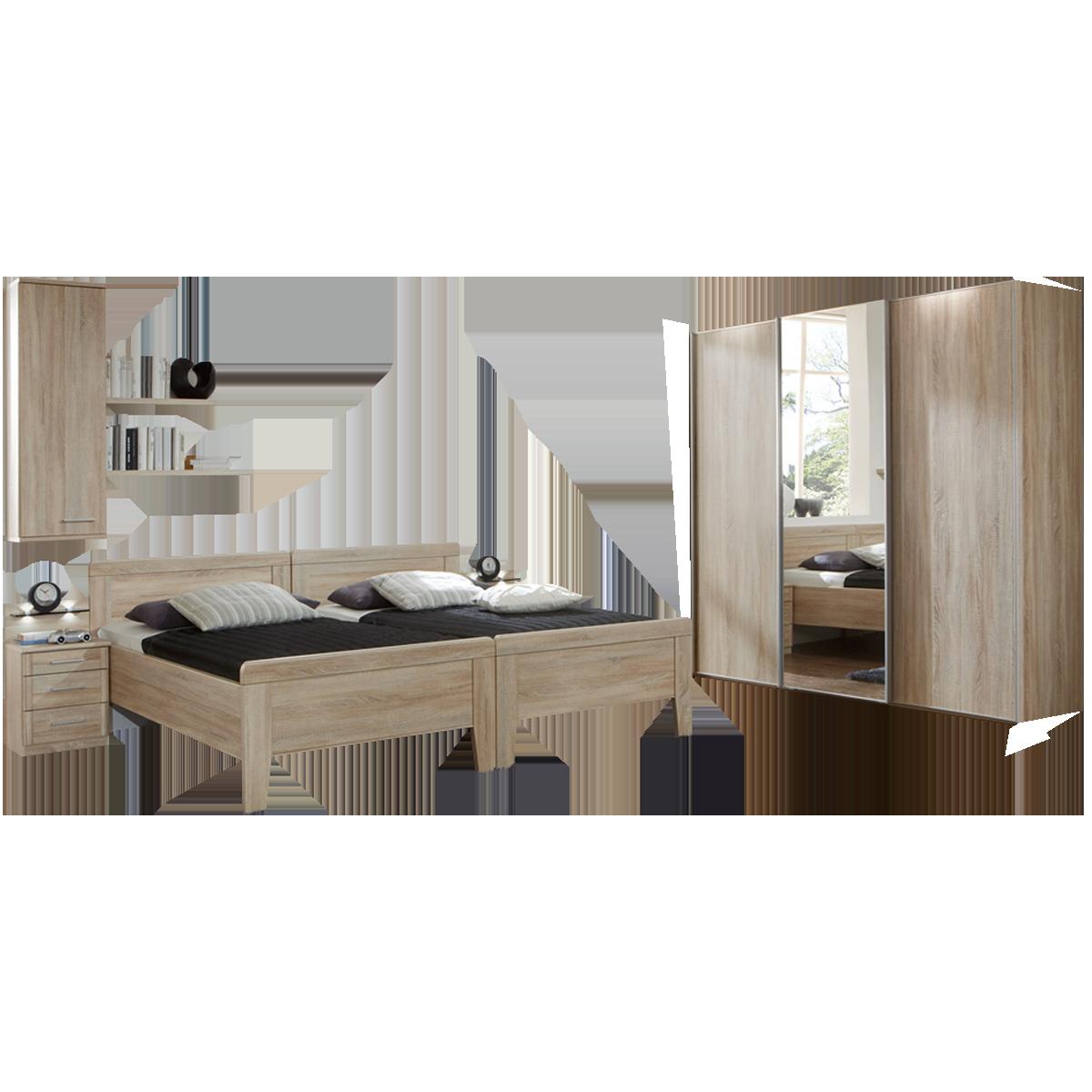 Wiemann Meran Schlafzimmer Schwebetürenschrank 19 Komfortbetten mit  Vario-Beschlag Nachtschränken Hängeschrank und Wandregal in