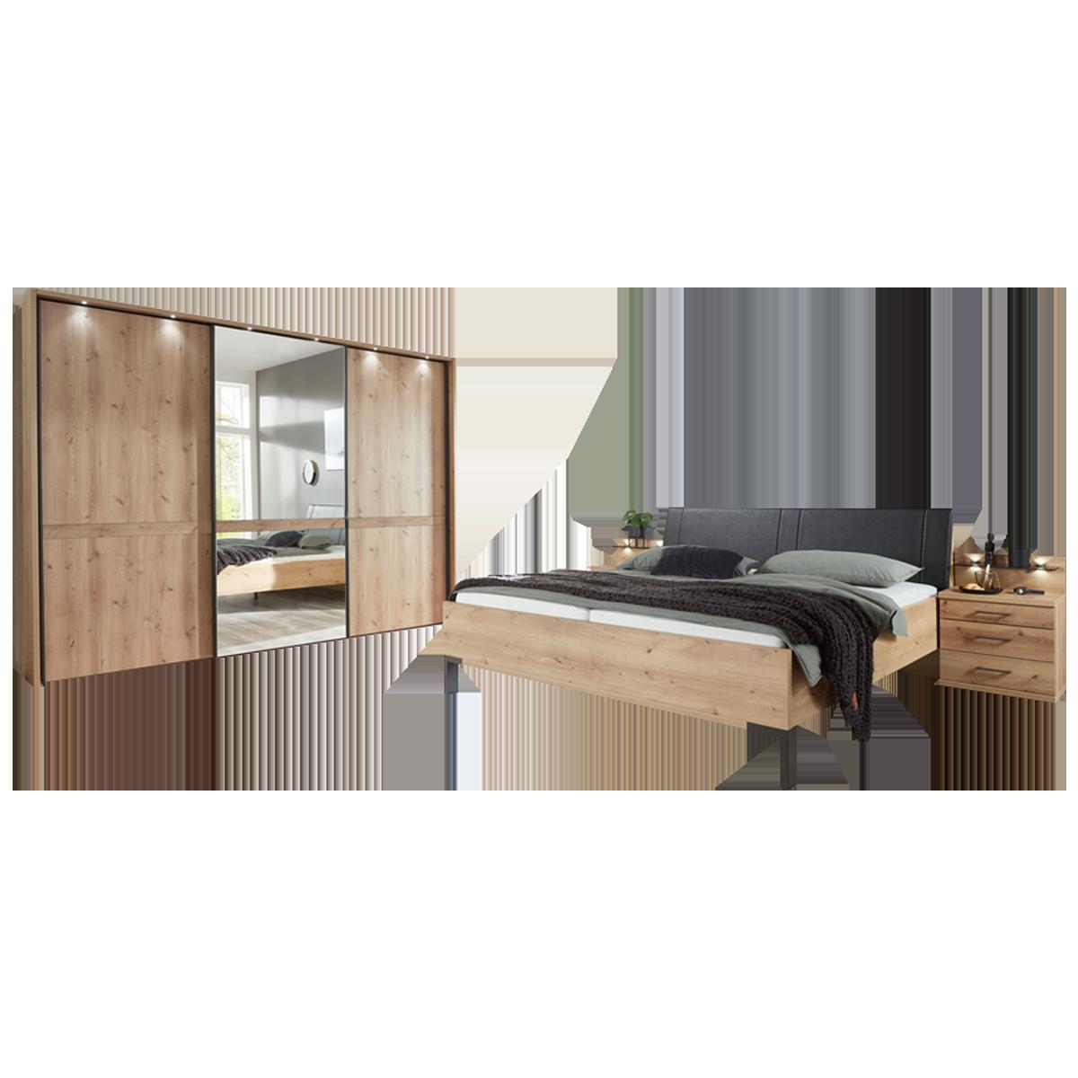 Wiemann Mexiko Schlafzimmer Futonbett 18-türiger Schwebetürenschrank und  Nachtkonsolen in Bianco-Eiche-Nachbildung Griffe und Winkelfüße in Schiefer