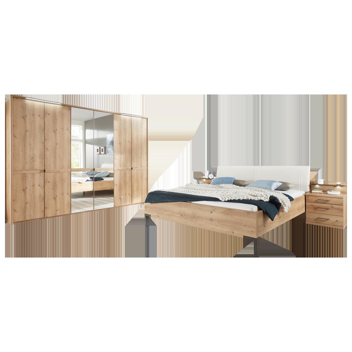 Wiemann Mexiko Schlafzimmer Futonbett 18-türiger Drehtürenschrank und  Nachtkonsolen in Bianco-Eiche-Nachbildung Griffe und Winkelfüße in Schiefer